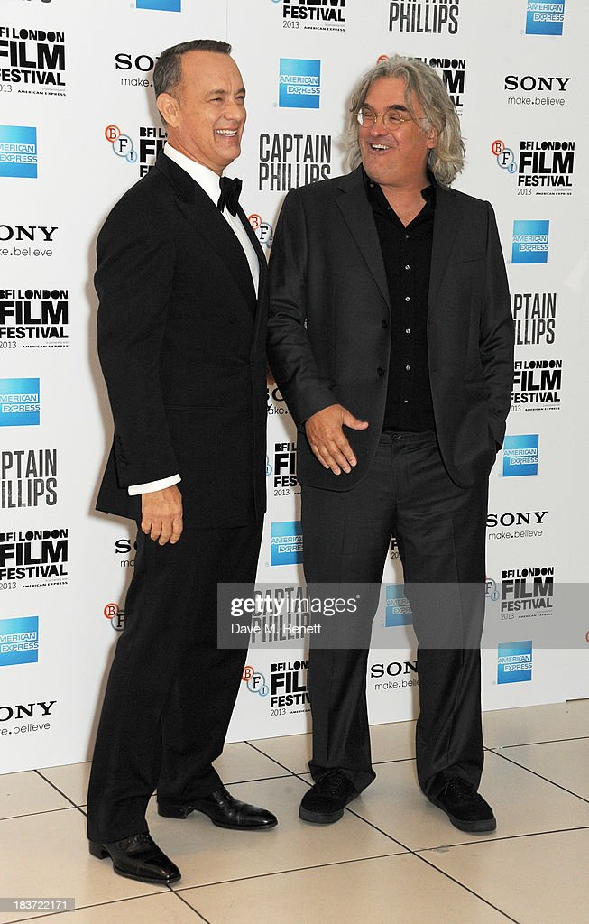 Tom Hanks (L) and Paul Greengrass attend the European Premiere of 'Captain Phillips' on the opening night of the 57th BFI London Film Festival at Odeon Leicester Square on October 9, 2013 in London, England.