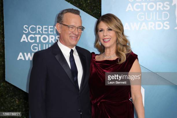 Tom Hanks and Rita Wilson attend 26th Annual Screen Actors Guild Awards at The Shrine Auditorium on January 19, 2020 in Los Angeles, California.