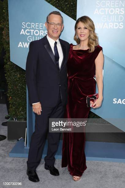 Tom Hanks and Rita Wilson attend 26th Annual Screen Actors Guild Awards at The Shrine Auditorium on January 19 2020 in Los Angeles California