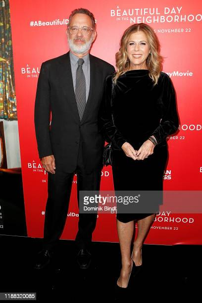 """Tom Hanks and Rita Wilson attend """"A Beautiful Day In The Neighborhood"""" New York Screening at Henry R. Luce Auditorium at Brookfield Place on November..."""