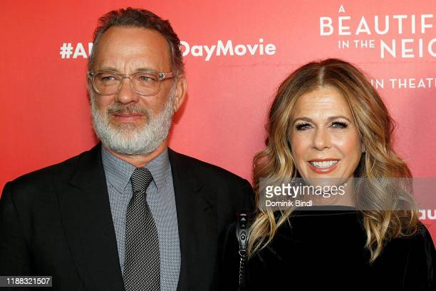 Tom Hanks and Rita Wilson attend A Beautiful Day In The Neighborhood New York Screening at Henry R Luce Auditorium at Brookfield Place on November 17...