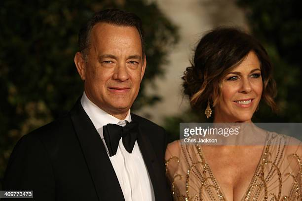 Tom Hanks and Rita Wilson attend an official dinner party after the EE British Academy Film Awards at The Grosvenor House Hotel on February 16 2014...