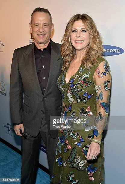 Tom Hanks and Rita Wilson attend 'My Big Fat Greek Wedding 2' New York Premiere at AMC Loews Lincoln Square 13 theater on March 15 2016 in New York...