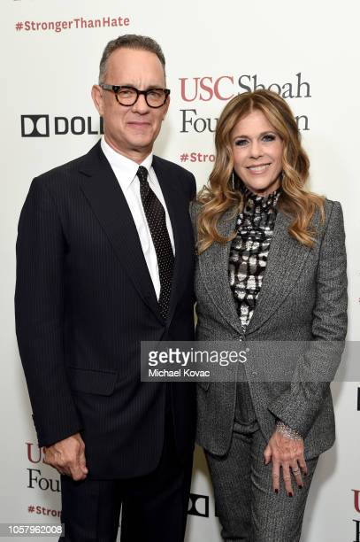 Tom Hanks and Rita Wilson attend the Ambassadors For Humanity Gala Benefiting USC Shoah Foundation Honoring Rita Wilson And Tom Hanks at The Beverly...