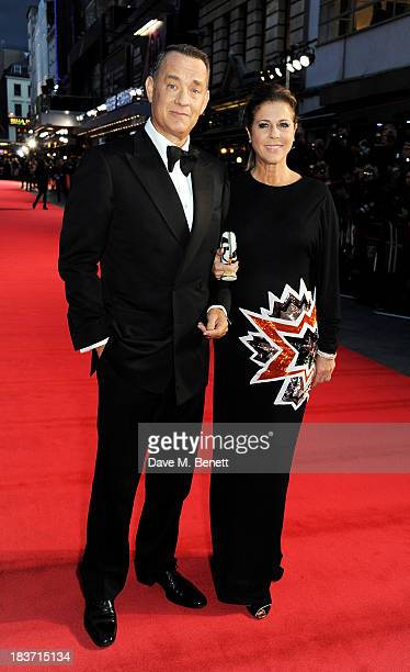 Tom Hanks and Rita Wilson attend the European Premiere of 'Captain Phillips' on the opening night of the 57th BFI London Film Festival at Odeon...