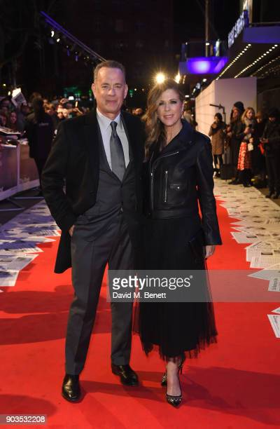 Tom Hanks and Rita Wilson attend the European Premiere of 'The Post' at Odeon Leicester Square on January 10 2018 in London England