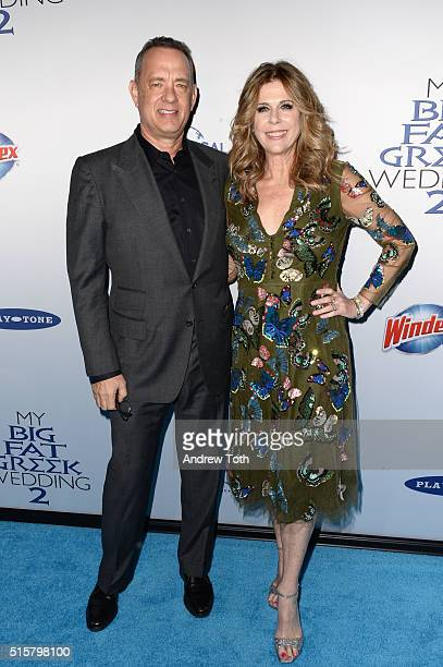 Tom Hanks and Rita Wilson attend the 'My Big Fat Greek Wedding 2' New York premiere at AMC Loews Lincoln Square 13 theater on March 15 2016 in New...