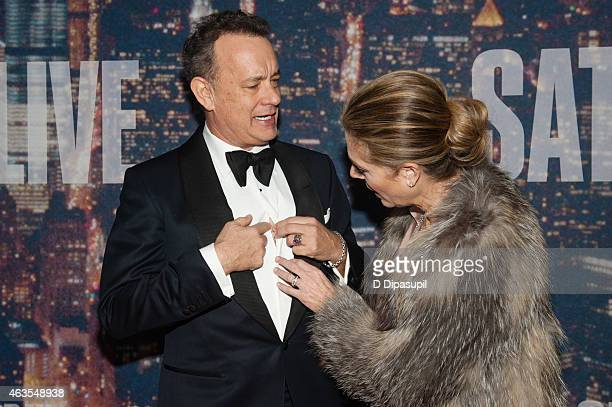 Tom Hanks and Rita Wilson attend the SNL 40th Anniversary Celebration at Rockefeller Plaza on February 15 2015 in New York City