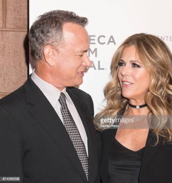 Tom Hanks and Rita Wilson attend Tribeca Gala The Circle Premiere during the 2017 Tribeca Film Festival at BMCC Tribeca PAC Manhattan