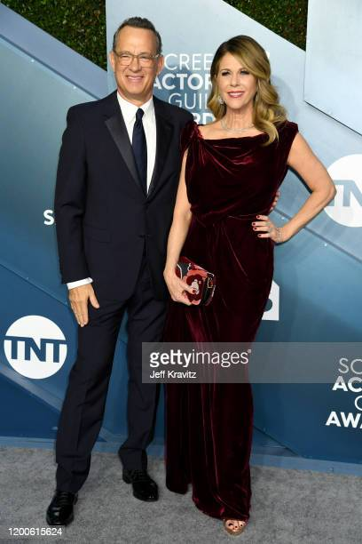 Tom Hanks and Rita Wilson attends the 26th Annual Screen ActorsGuild Awards at The Shrine Auditorium on January 19, 2020 in Los Angeles, California.