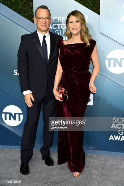 Tom Hanks and Rita Wilson attends the 26th Annual Screen ActorsGuild Awards at The Shrine Auditorium on January 19 2020 in Los Angeles California