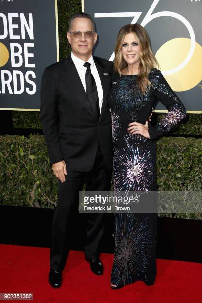 Tom Hanks and Rita Wilson attends The 75th Annual Golden Globe Awards at The Beverly Hilton Hotel on January 7 2018 in Beverly Hills California