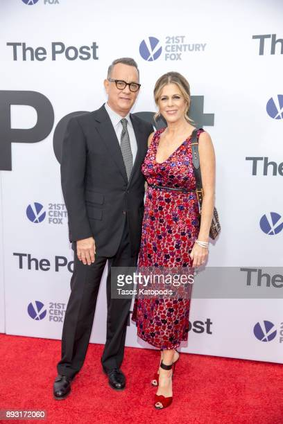 Tom Hanks and Rita Wilson attends the 'The Post' Washington DC Premiere at The Newseum on December 14 2017 in Washington DC