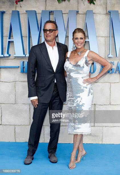Tom Hanks and Rita Wilson attends the UK Premiere of 'Mamma Mia Here We Go Again' at Eventim Apollo on July 16 2018 in London England