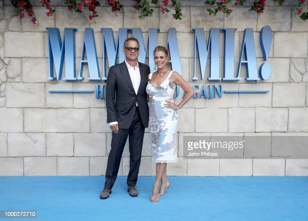 Tom Hanks and Rita Wilson attends the UK Premiere of Mamma Mia Here We Go Again at Eventim Apollo on July 16 2018 in London England