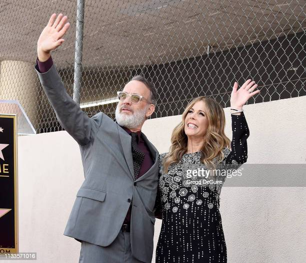 Tom Hanks and Rita Wilson pose as Rita is honored with a Star On The Hollywood Walk Of Fame on March 29 2019 in Hollywood California