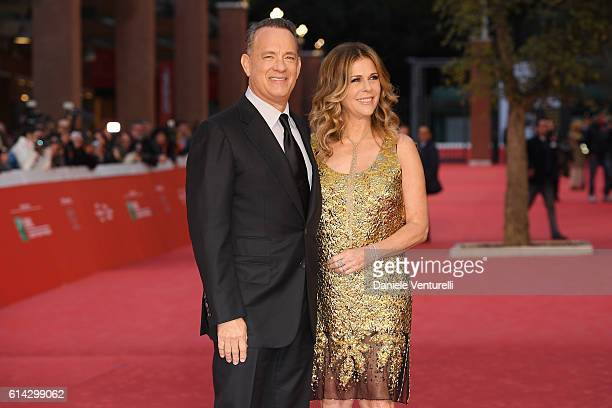 Tom Hanks and Rita Wilson walk a red carpet on October 13 2016 in Rome Italy