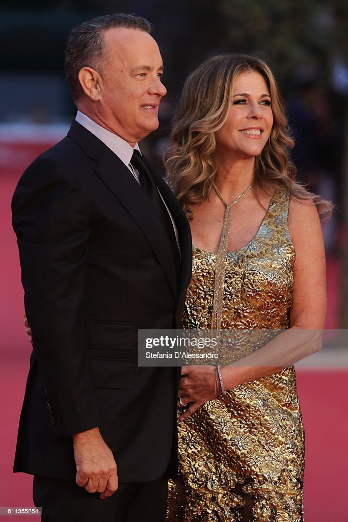 Tom Hanks and Rita Wilson walk a red carpet on October 13, 2016 in Rome, Italy.
