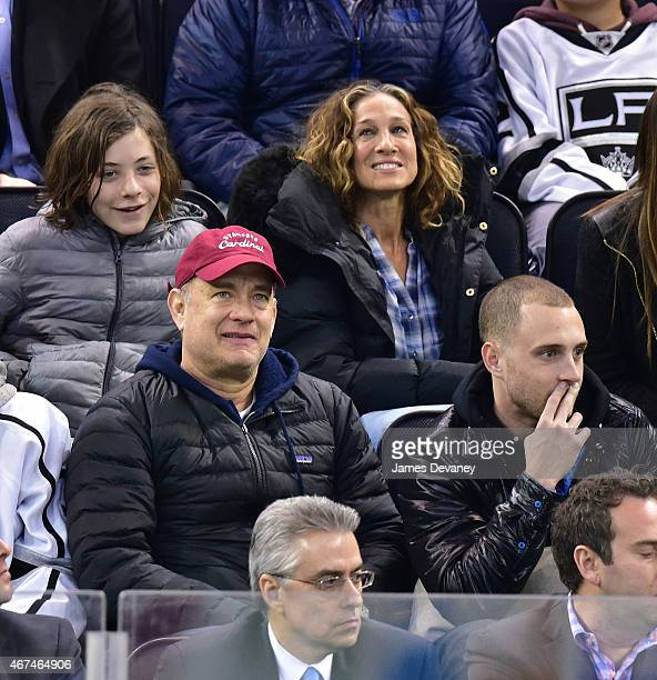 Tom Hanks and Sarah Jessica Parker attend the Los Angeles Kings vs New York Rangers game at Madison Square Garden on March 24 2015 in New York City