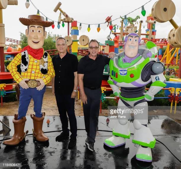 Tom Hanks and Tim Allen visit Toy Story Land at Disney's Hollywood Studios on June 08, 2019 in Orlando, Florida.