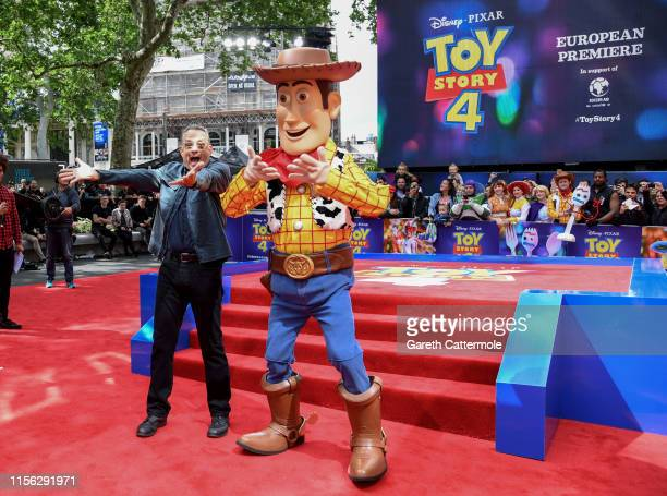 Tom Hanks and Woody attend the European premiere of Disney and Pixar's Toy Story 4 at the Odeon Luxe Leicester Square on June 16 2019 in London...