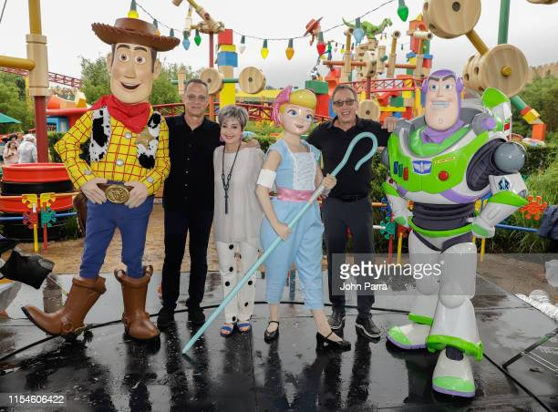 Tom Hanks Annie Potts and Tim Allen visit Toy Story Land at Disney's Hollywood Studios on June 08 2019 in Orlando Florida
