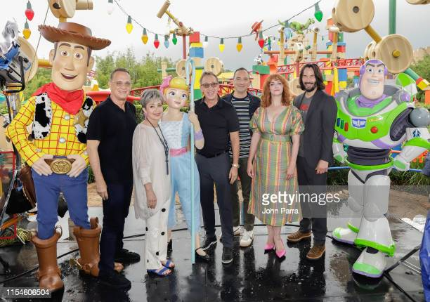 Tom Hanks Annie Potts Tim Allen Tony Hale Christina Hendricks and Keanu Reeves visit Toy Story Land at Disney's Hollywood Studios on June 08 2019 in...