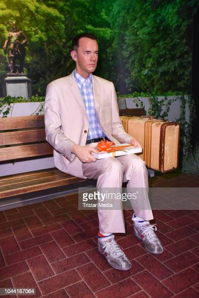Tom Hanks as Forrest Gump figure during the unveiling of the wax figures of actors Tom Hanks and Vin Diesel at Madame Tussauds on October 1 2018 in...