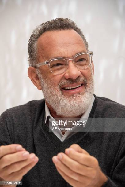 """Tom Hanks at """"A Beautiful Day In The Neighborhood"""" Press Conference at the Fairmont Royal York on September 08, 2019 in Toronto, Canada."""