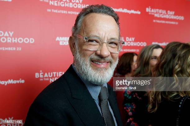Tom Hanks attends A Beautiful Day In The Neighborhood New York Screening at Henry R Luce Auditorium at Brookfield Place on November 17 2019 in New...