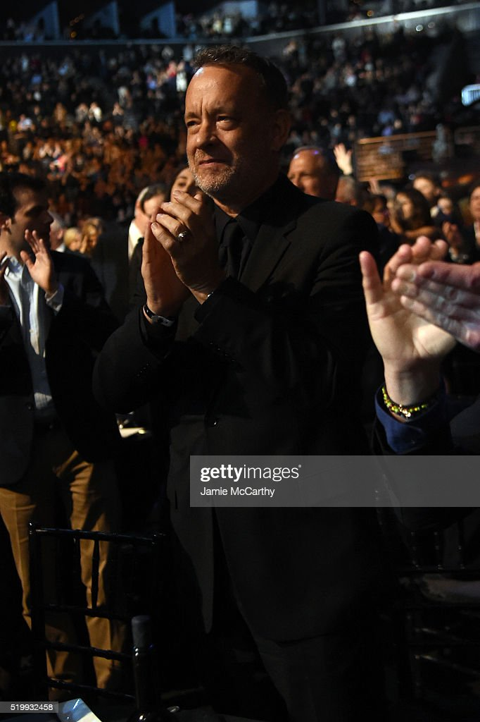 Tom Hanks attends the 31st Annual Rock And Roll Hall Of Fame Induction Ceremony at Barclays Center of Brooklyn on April 8, 2016 in New York City.
