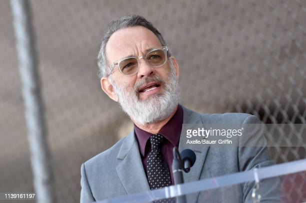 Tom Hanks attends the ceremony honoring Rita Wilson with Star on the Hollywood Walk of Fame on March 29 2019 in Hollywood California