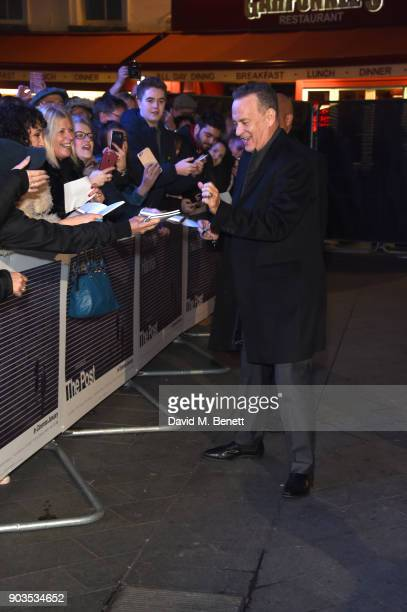 Tom Hanks attends the European Premiere of 'The Post' at Odeon Leicester Square on January 10 2018 in London England