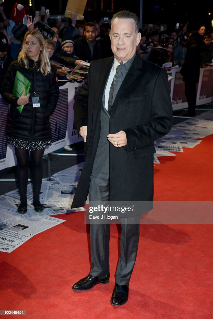 Tom Hanks attends 'The Post' European Premiere at Odeon Leicester Square on January 10, 2018 in London, England.