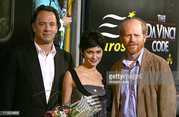 Tom Hanks Audrey Tautou and Ron Howard during 2006 Cannes Film Festival The Da Vinci Code Cast Arrival at Cannes Train Terminal at Cannes Train...