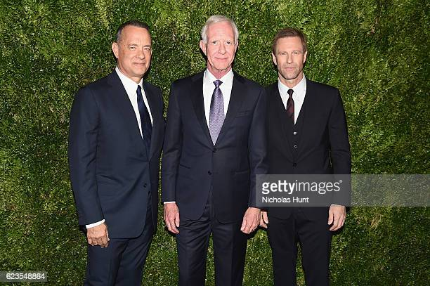 Tom Hanks Captain Chesley Sullenberger and Aaron Eckhart attend the MoMA Film Benefit presented by CHANEL A Tribute To Tom Hanks at MOMA on November...