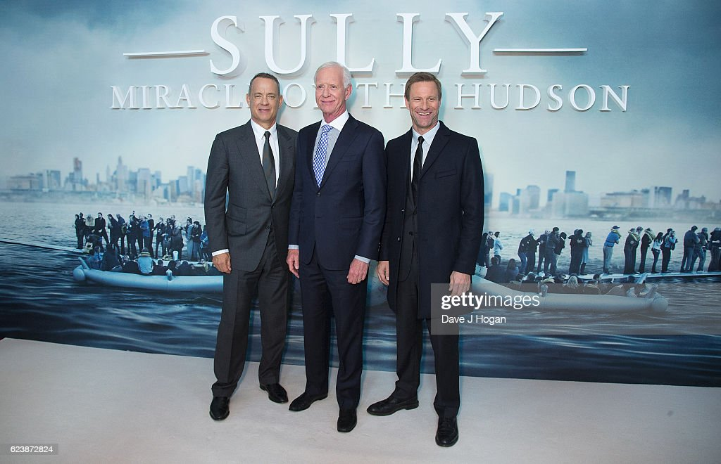 Tom Hanks, Captain Chesley 'Sully' Sullenberger and Aaron Eckhart attend the special screening of 'Sully' at BFI IMAX on November 17, 2016 in London, United Kingdom.