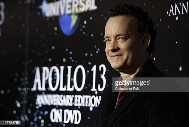 Tom Hanks during 'Apollo 13' Anniversary Edition DVD Launch Press Line at California Science Center in Los Angeles California United States