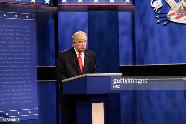 LIVE Tom Hanks Episode 1708 Pictured Alec Baldwin as Republican Presidential Candidate Donald Trump during the Third Debate Cold Open sketch on...