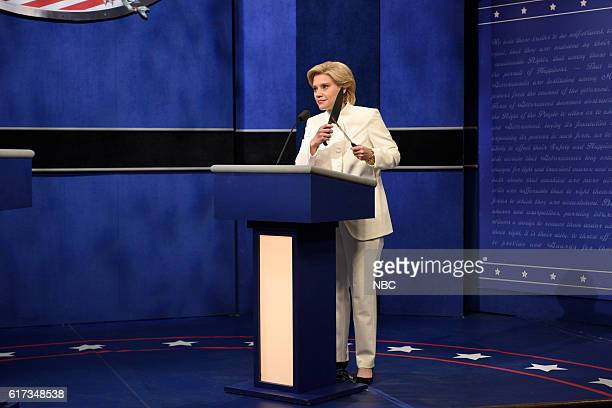 LIVE Tom Hanks Episode 1708 Pictured Kate McKinnon as Democratic Presidential Candidate Hillary Clinton during the Third Debate Cold Open sketch on...