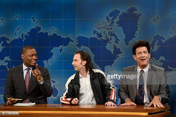 LIVE 'Tom Hanks' Episode 1708 Pictured Michael Che Kyle Mooney as Bruce Chandling and Tom Hanks as Paul Cannon during Weekend Update on October 22...
