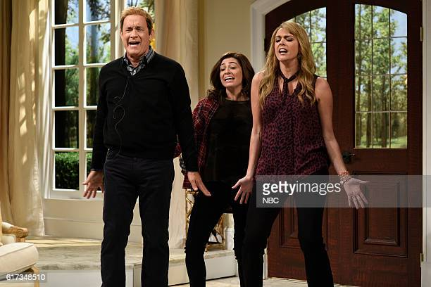 LIVE 'Tom Hanks' Episode 1708 Pictured Tom Hanks Melissa Villaseñor and Cecily Strong during the 'Block Party' sketch on October 22 2016