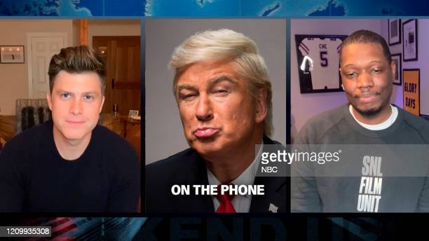LIVE Tom Hanks Episode 1783Q Pictured in this screengrab Anchor Colin Jost Alec Baldwin as Donald Trump and Michael Che during Weekend Update on...