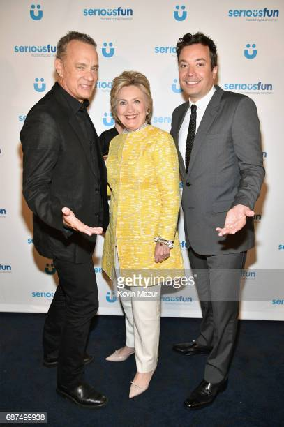 Tom Hanks Former United States Secretary of State Hillary Clinton and Jimmy Fallon attend the SeriousFun Children's Network Gala at Pier 60 on May 23...