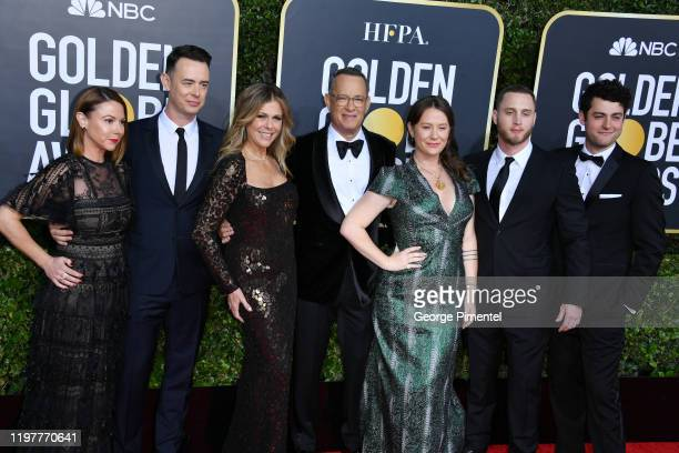 Tom Hanks his wife Rita Wilson and family attend the 77th Annual Golden Globe Awards at The Beverly Hilton Hotel on January 05 2020 in Beverly Hills...