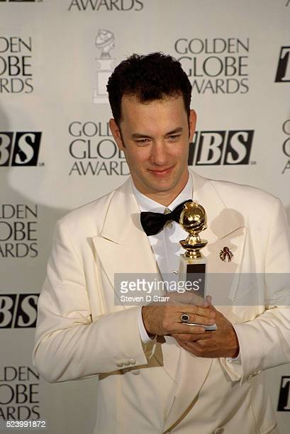 Tom Hanks holds his award at the 52nd Golden Globe Award Ceremony Hanks won the Best Actor award for his role in Forrest Gump which also won for Best...