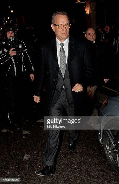 Tom Hanks is seen leaving Claridge's hotel Mayfair on February 15 2014 in London England