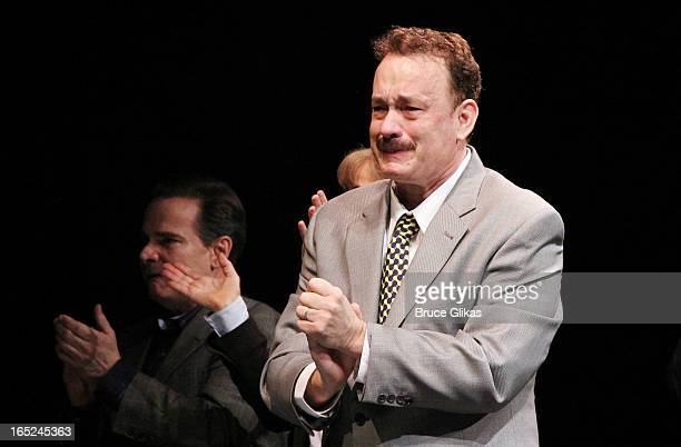 """Tom Hanks makes his broadway debut and takes his opening night curtain call for Broadway's """"Lucky Guy"""" at The Broadhurst Theatre on April 1, 2013 in..."""