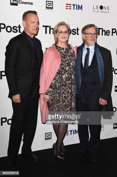 Tom Hanks Meryl Streep and Steven Spielberg attend the 'The Post' premiere on January 15 2018 in Milan Italy