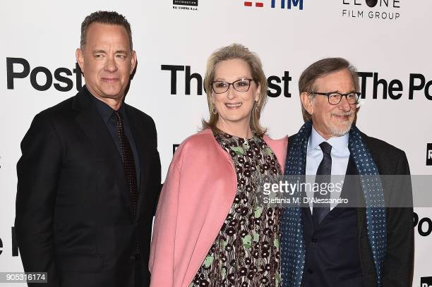 Tom Hanks Meryl Streep and Steven Spielberg attends the 'The Post' premiere on January 15 2018 in Milan Italy